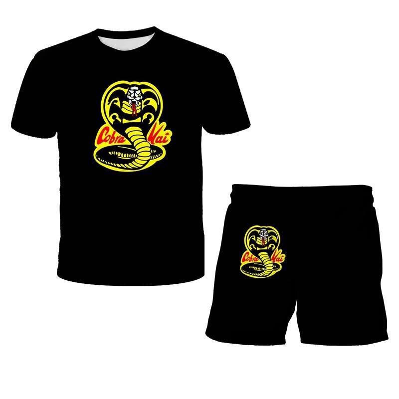 Футболка с принтом кобры Кай для мальчиков, жесткая рубашка с надписью Strike First Strike, без милосердия, хлопковый топ с коротким рукавом, черная ф...