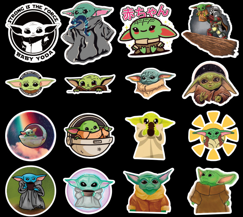 50Pcs Film Mandalorian Baby Yoda Sticker ForLaptop Skateboard Home Decoration Car Scooter Decal Cute Cartoon Children Gift