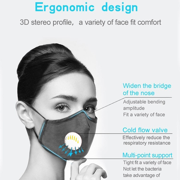 1Pcs BYEPAIN Fashion Man Woman Cotton Breath Valve PM2.5 Face Mouth Mask Activated carbon filter respirator Mouth-muffle 3