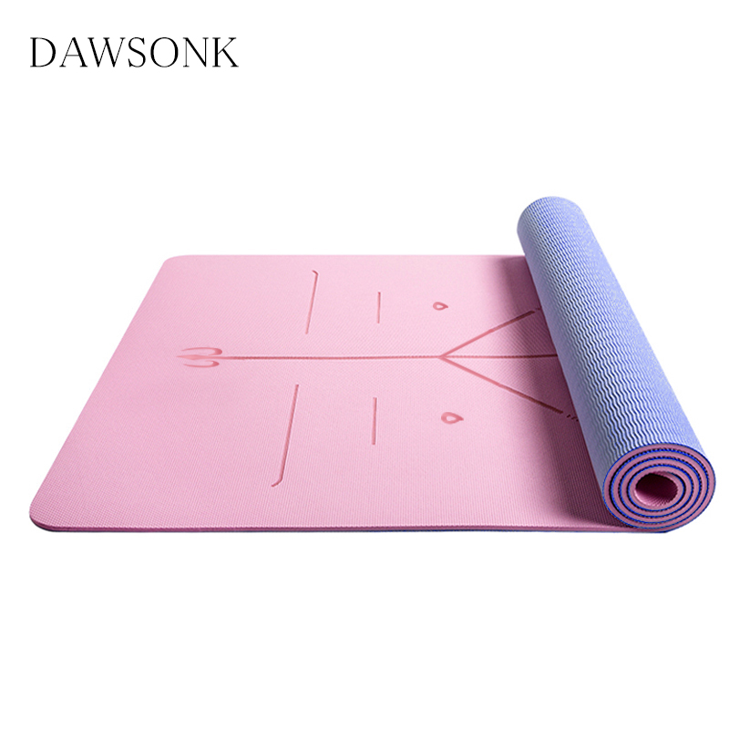 TPE Two-Color Yoga Mat With Body Position Line Suitable For Beginners Non-slip And Tasteless Fitness Mat Pilates 183cm*61cm*6mm