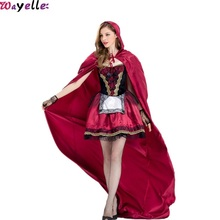 2019 New Halloween Little Red Riding Hood Costume Adult Cosplay Clothes Character Girl Wear Play Game Party Woman Princess Dress