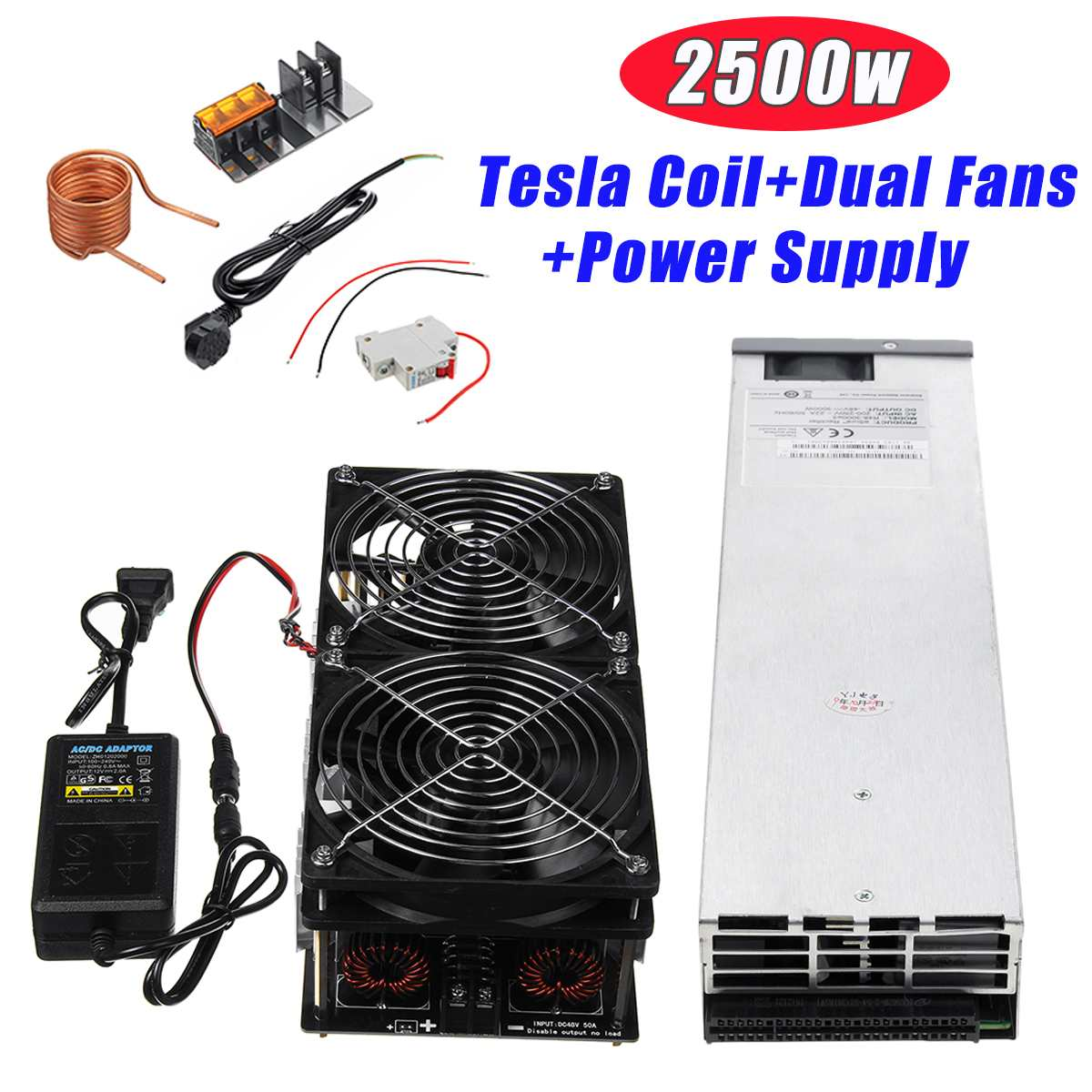 12V-48V 2500W/1800W ZVS Induction Heating Board Module Flyback Driver Heater with Coil + Dual Fan , Power Supply kit