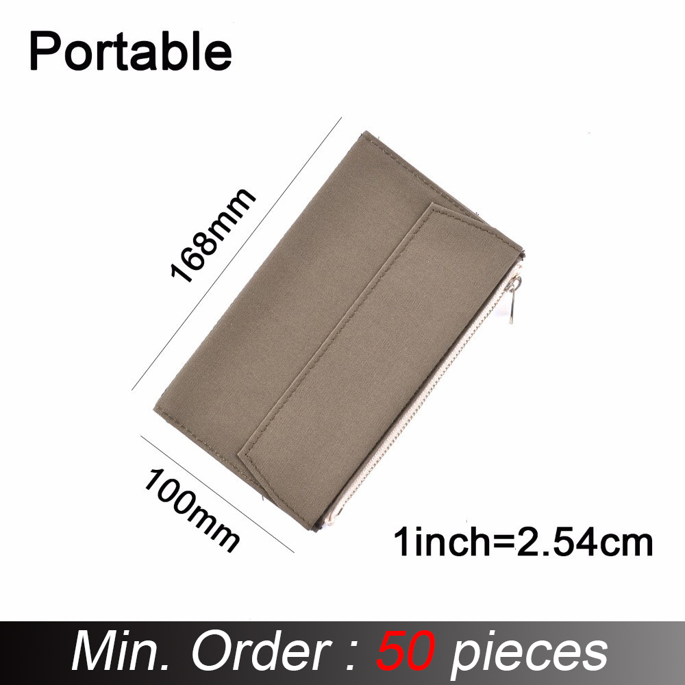 50 Pieces / Lot Portable Size 168 X 100 Mm Olive Green Canvas Zipper Pocket For Notebook Accessory Paper Card Holder Storage Bag