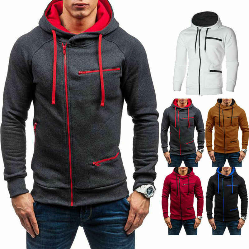 Men's Hoodie Warm Hooded Sweatshirt Coat Tops Jacket Outwear Zip Up Jumper Sweater