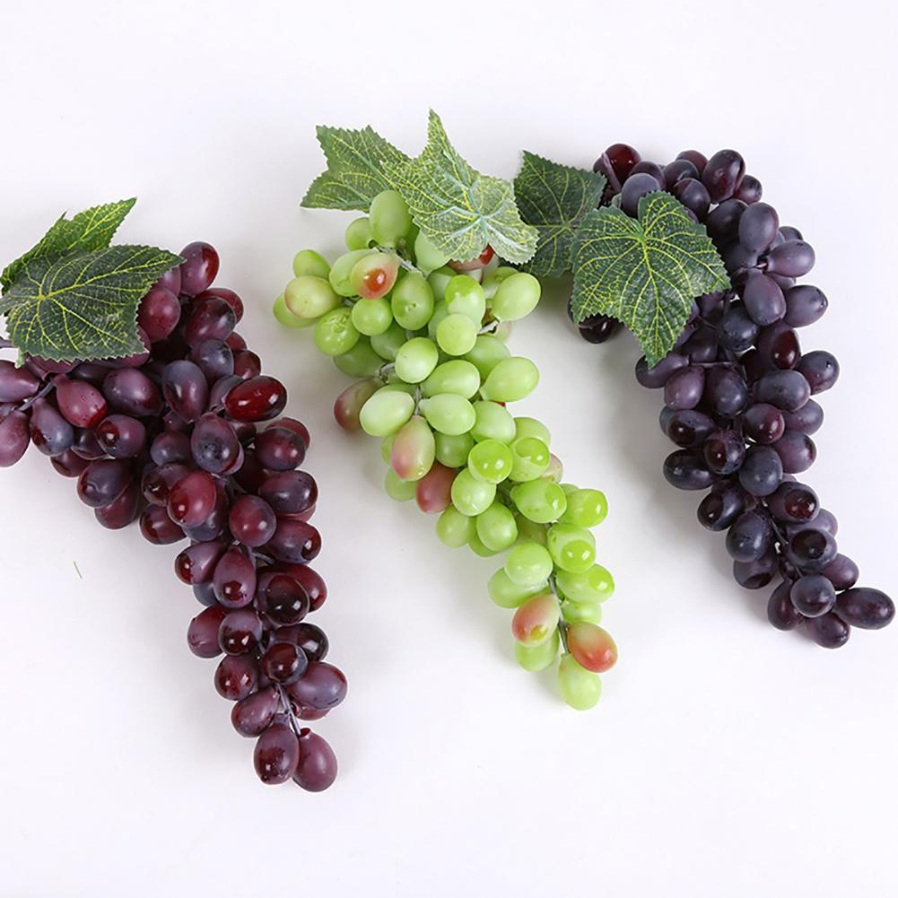 1 Bunch Fake Grape Rural Style Artificial Plastic Lifelike Faux Fruit Home Garden Weddings Stages Living Bathroom Decoration