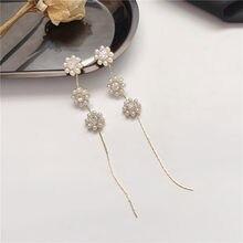 Nova chegada imitação de pérola flor longo borla brincos moda jóias coreano moda brincos para mulher.