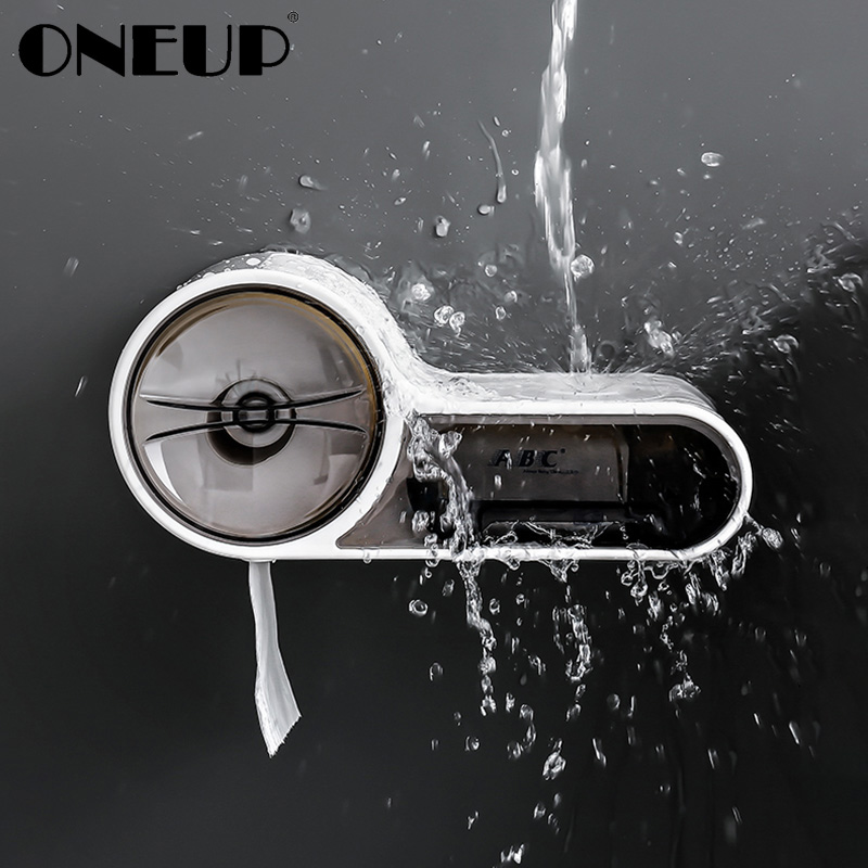 ONEUP Wall-mounted Waterproof Toilet Paper Holder Creative Plastic Tissue Storage Box Toilet Paper Roll Dispenser For Bathroom