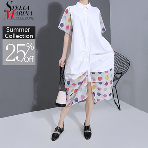 New 2020 Women Plus Size Summer Long White Shirt Dress Colorful Dots Print Patchwork Ladies Stylish Casual Unusual Dress 6155(China)