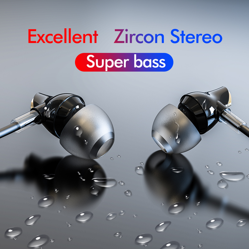 ROCKSPACE Zircon Stereo Wired Earphone Quality Sound Earbuds for iPhone Earphones Hands Free Headset with Mic Sport Headphones image