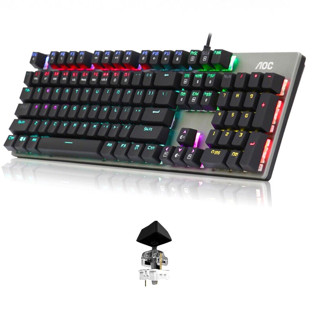 104 chiavi USB Gaming Meccanica Ergonomico Wired Keyboard Home Office Anti Le Immagini Fantasma RGB Retroilluminazione Per Desktop di Resistenza All'usura