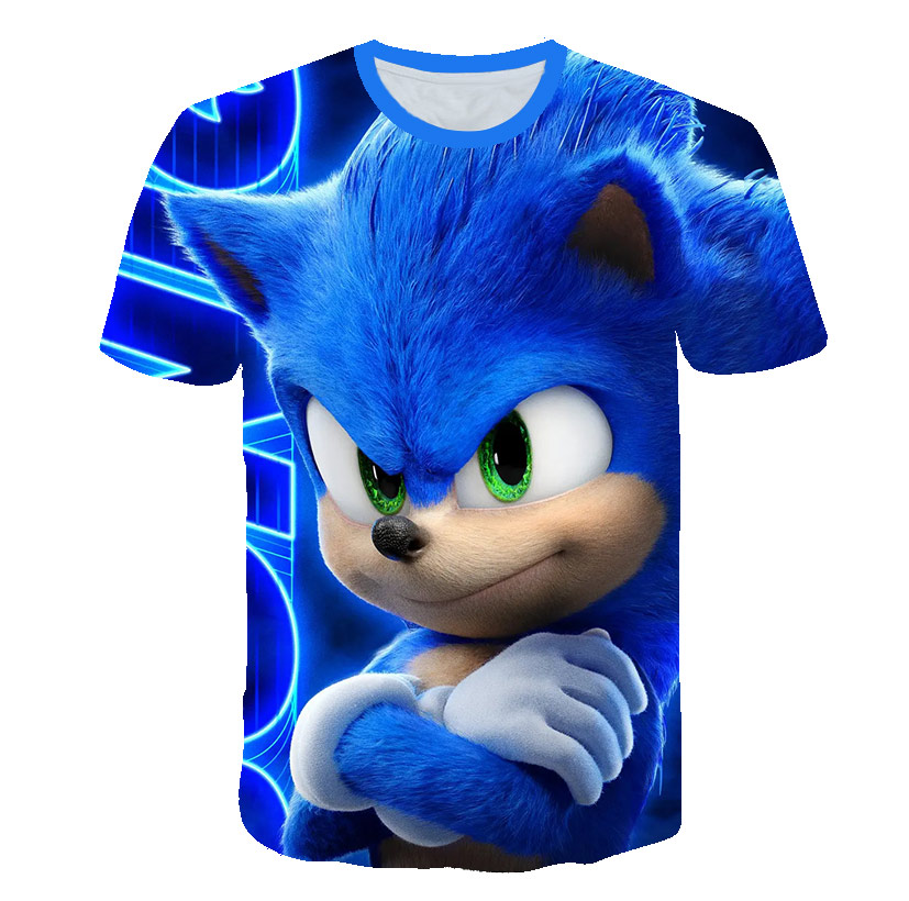 Летняя футболка с рисунком Соника Ежика для мальчиков, 2020 г. Синяя уличная детская одежда с 3D принтом для девочек Детская забавная футболка с круглым вырезом Тройники      АлиЭкспресс