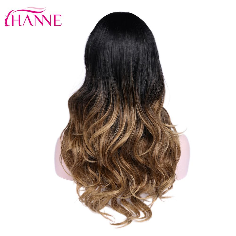 HANNE Long Synthetic Wigs Ombre Brown Blonde/Grey High Density Heat Resistant Wavy Wig For Black/White Women Cosplay/Party