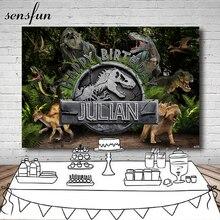 Sensfun jurassique dinosaure fête toile de fond pour Studio Photo forêt enfants joyeux anniversaire fête photgraphie arrière plans 7x5ft
