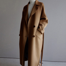 Women High Quality Wool Blend Coat Winter Wide Lapel Belt Po