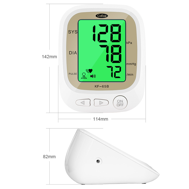 Cofoe automatic blood pressure monitor upper arm pulse gauge meter bp heart beat rate tonometer digital lcd sphygmomanometer
