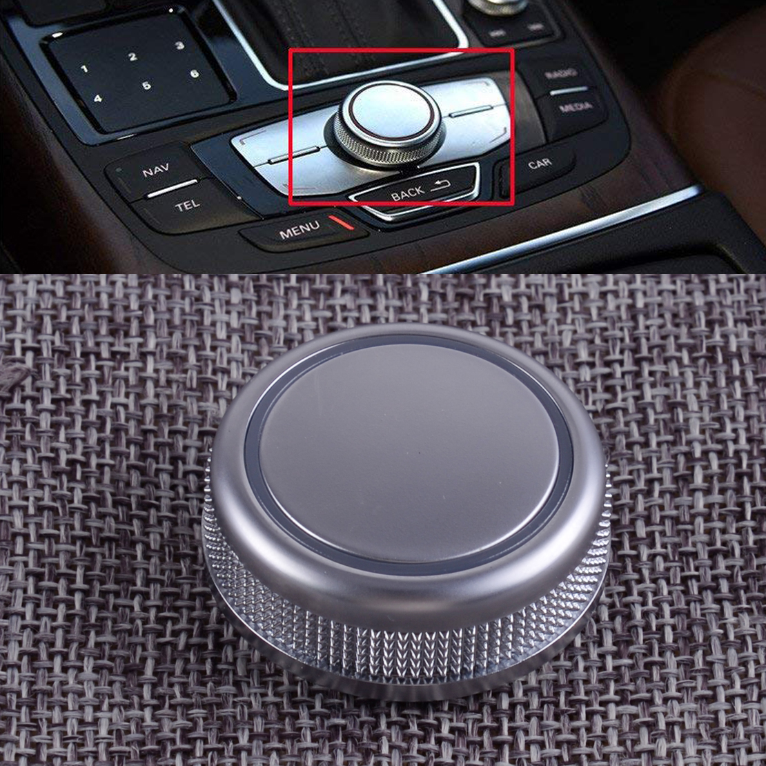 CITALL Car Chrome MMI Control Knob Rotary Menu Navigation Cover Fit for Audi A6 S6 C7 A7 RS6 RS7 4G0919069 2014 2015 2016 2017 image