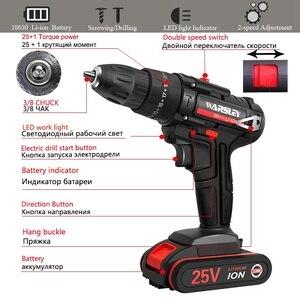 Image 2 - 25v 1.5ah capacidade da bateria broca mini sem fio ferramentas elétricas chave de fenda elétrica broca baterias chave de fenda