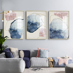 Nordic Blue Watercolor Canvas Print Paintings Golden lines Poster Abstract Wall Art Pictures on Canvas Living Room Home Decor
