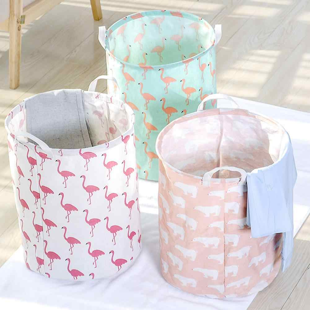 Foldable Cotton Linen Dirty Laundry Basket Clothes Toy Storage Bag Pouch Holder Big Basket Organizer Bin Handle laundry hamper