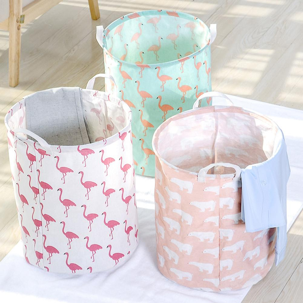 Foldable Cotton Linen Dirty Laundry Basket Clothes Toy Storage Bag Pouch Holder Big Basket Organizer Bin Handle Laundry Basket