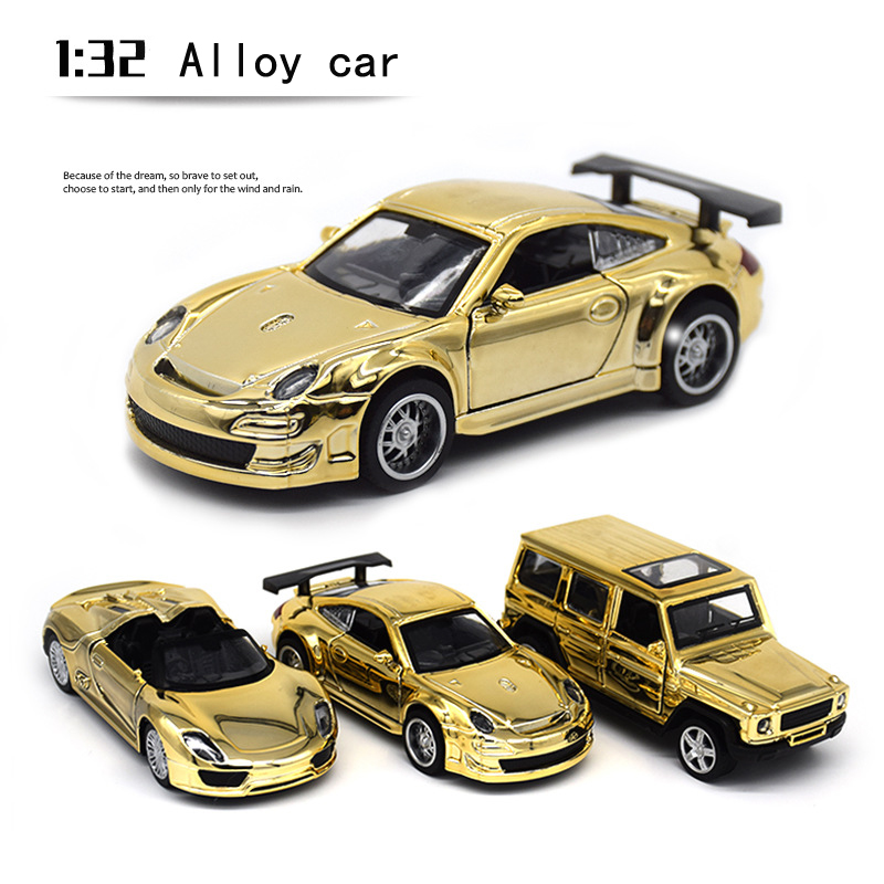 New 1:32  Mercedes-Benz&Porschi Alloy Golden Shell Off-Road Car Model Toy Vehicles Toy Car Small Gift Toys For Children Boys
