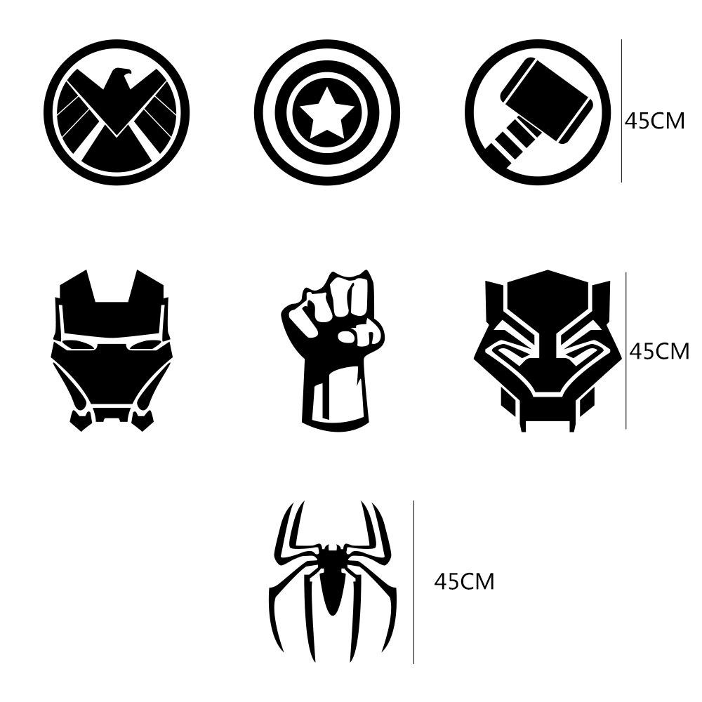 32Pcs Car Sticker Film SHIELD Iron Spider Man Thor HULK Black ...