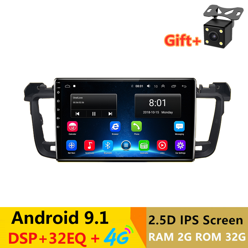 """9""""2.5D IPS Android 9.1 Car DVD Multimedia Player GPS for Peugeot 508 2011 2012 13 14 -2017 radio with DSP 32EQ stereo navigation"""