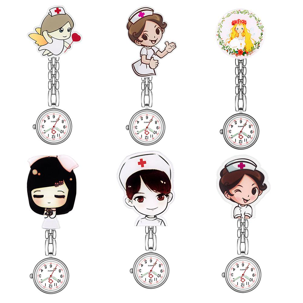 Luminous Waterproof Nurse Watch Numeral Analog Quartz Nurse Fob Watch Cute Cartoon Nurse Doctor Hanging Pocket Watch With Clip