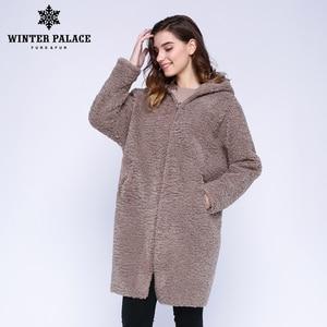 Image 3 - Hiver PALACE 2019 femmes nouveau manteau de laine longue à capuche manteau de fourrure longue à capuche Granule manteau de fourrure hiver chaud et coupe vent manteau de laine