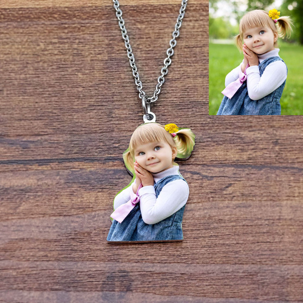 Personalized Photo Necklace Mothers Day Gift Grandma Gift Custom Engraved Photo Necklace Gift For Mom