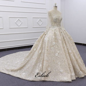 Image 3 - Eslieb Ball Gown Dress Rhinstone Beadings Pearl Crystals Champagne Lace Lace Up Back Custom Made Full Sleeves