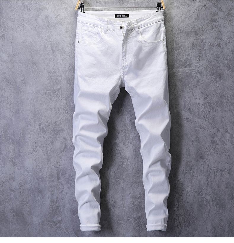 KSTUN Skinny Jeans Men Solid White Mens Jeans Brand Stretch Casual Men Fashioins Denim Pants Casual Yong Boy Students Trousers Cowboys 11