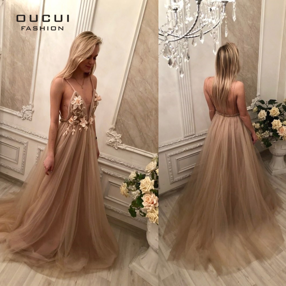 Image 5 - Sexy V Neck Robe De Soiree 2019 Evening Dress Long Prom Dresses Wedding A Line Lace Flower Special Occasion Ball Gown OL103253-in Evening Dresses from Weddings & Events