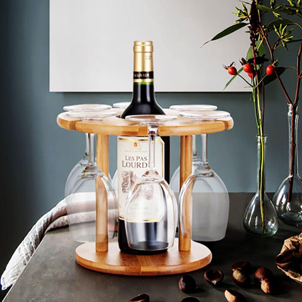 deouny wine glass drying rack bamboo storage shelf bottle display holder office home kitchen supplies barware