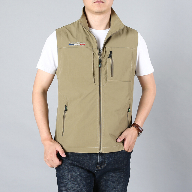 MAIDANGDI Men's Waistcoat  Jackets Vest 2021 Summer New Solid Color Stand Collar  Climbing Hiking Work Sleeveless With Pocket 4