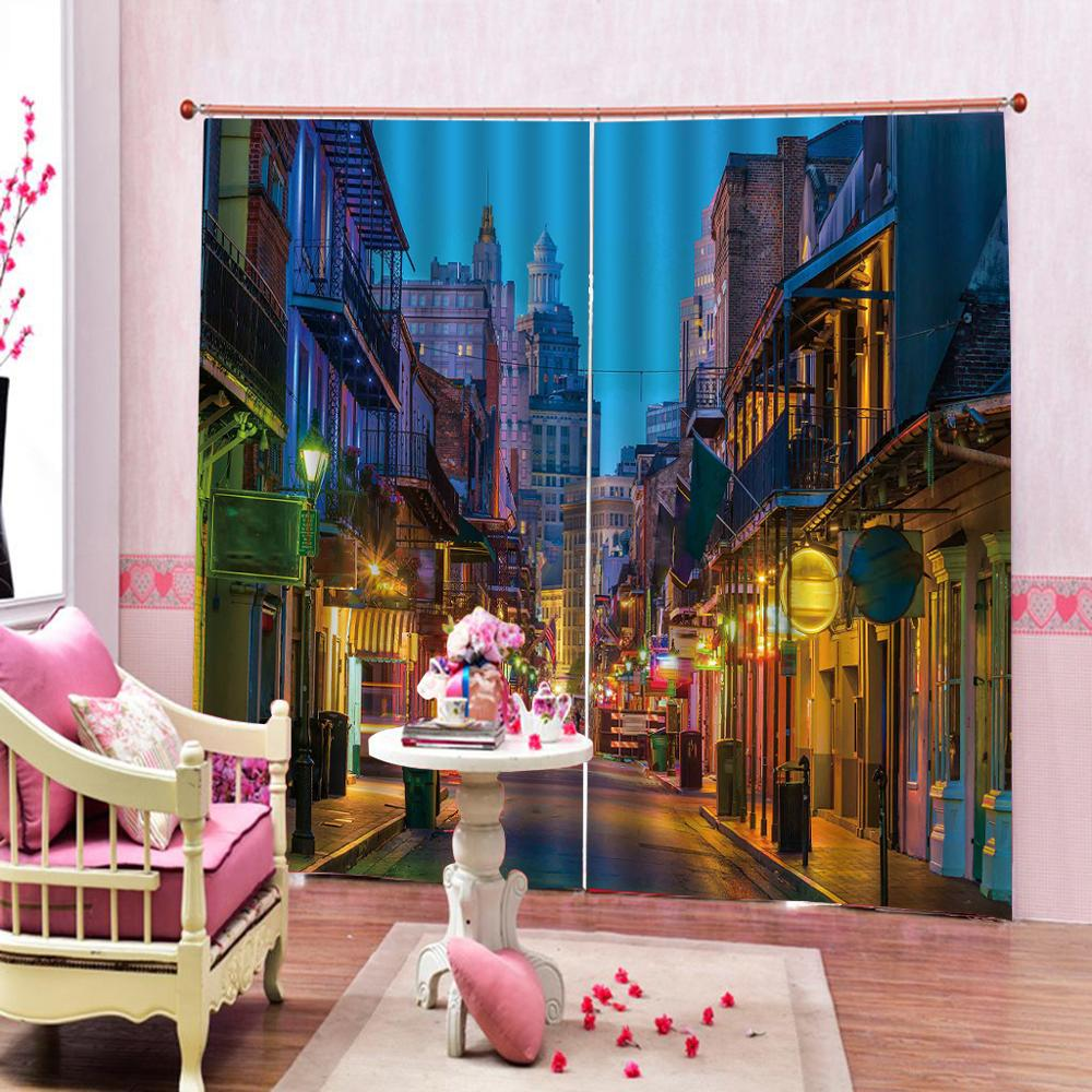 street night city curtains Luxury Blackout 3D Window Curtains For Living Room Bedroom Customized size Decoration curtains