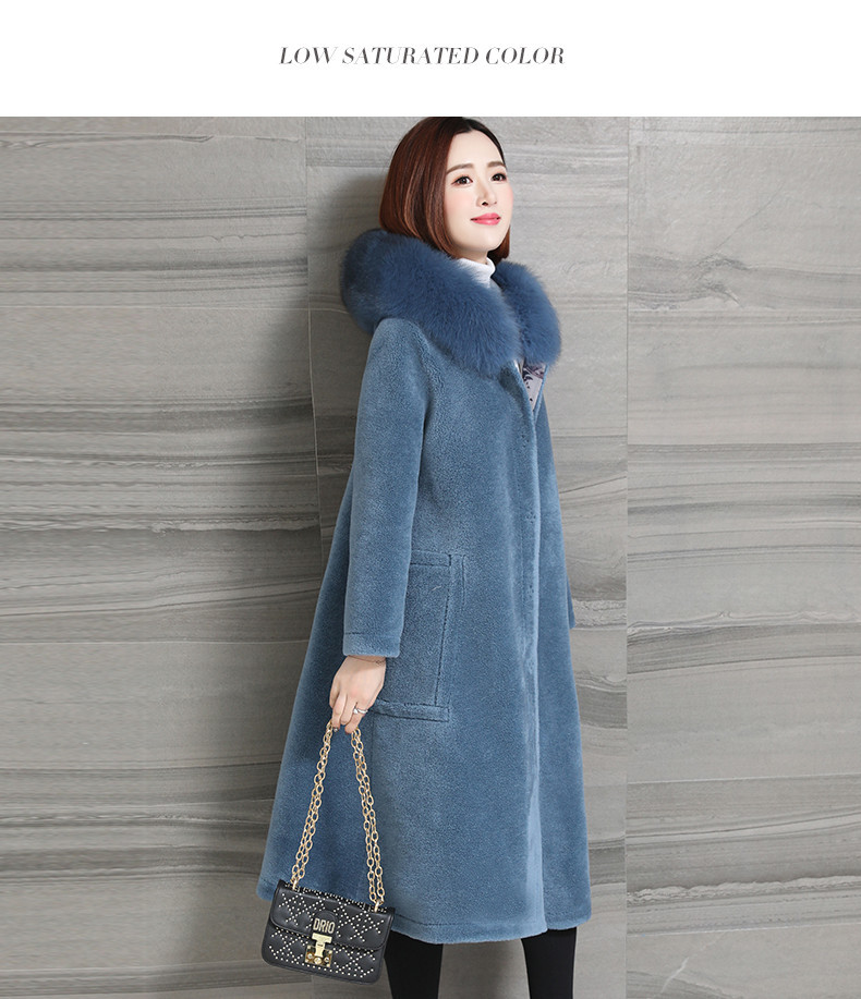 Women Jacket Winter Real Fur Coat Female Fox Fur Collar 100% Wool Coat Women Double Side Wear Sheep Shearling Jacket MY