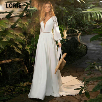 LORIE Chiffon Beach Wedding Dresses with Lace Full Sleeve V-neck Boho Bridal Gown Custom Made Vintage Open Back Princess Gown beach wedding dress long sleeve boho v neck open back bridal dresses 2020 chiffon princess lace chiffon wedding gown blusones