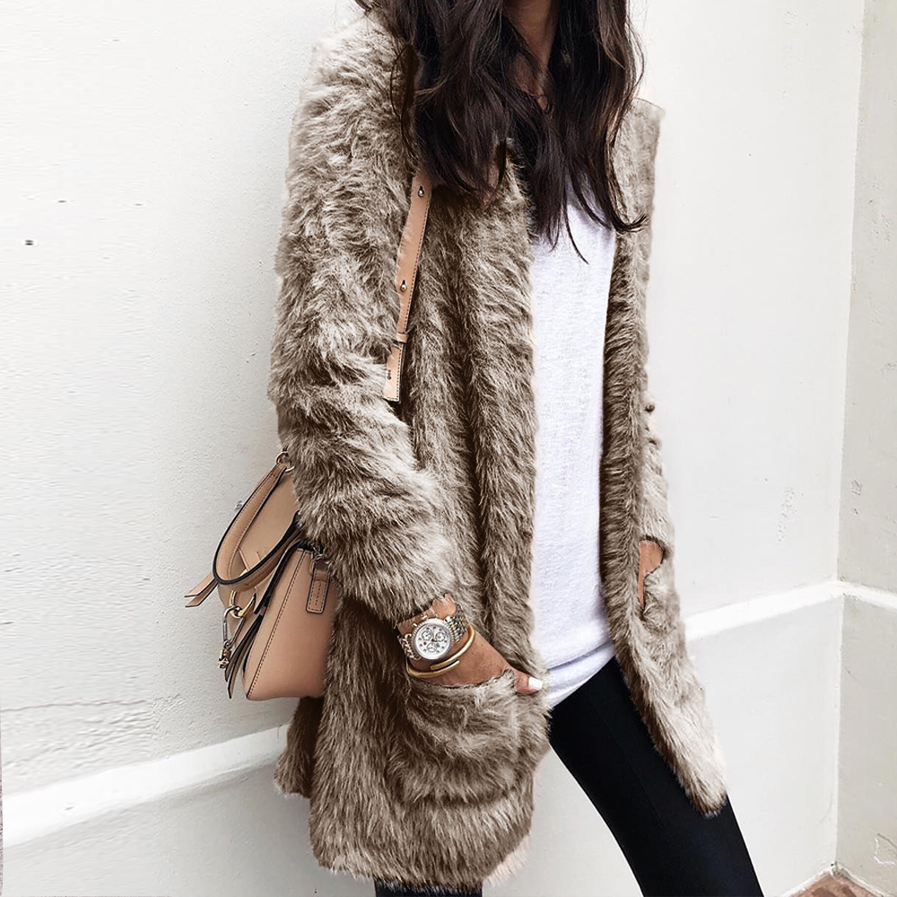LITTHING Lady Faux Fur Solid Loose Coat Wide Waisted V Neck Long Sleeve Outwear Jacket Coat Sweater Top Women Clothing 2020