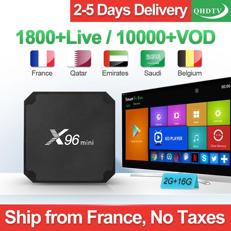 Caixa de IPTV arábica França X96 mini Android 7.1 TV Box 16GB 1 Ano Código QHDTV X96MINI Bélgica Espanha Italia holandês Francês IPTV Top Box