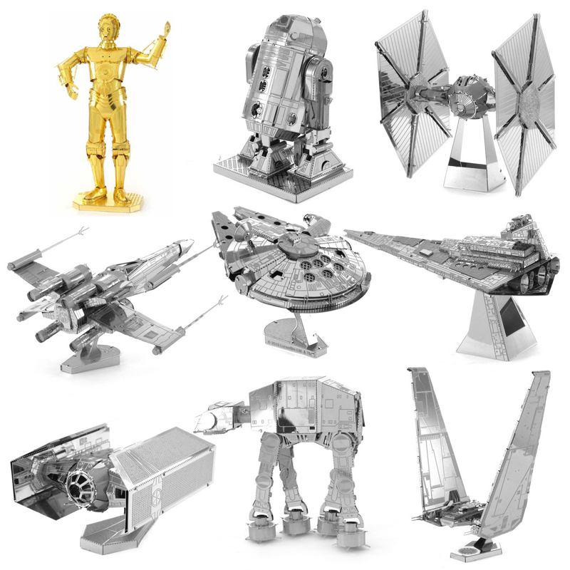 Star Wars R2D2 X-wing Fighter Millennium ATAT 3D Metal Puzzle Model Kits DIY Laser Cut Assemble Jigsaw Toy GIFT For Children