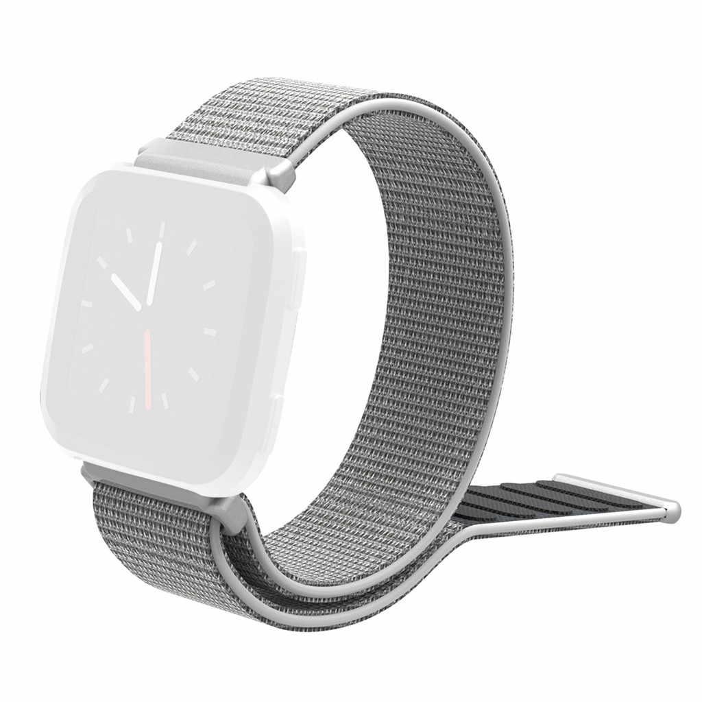 المنسوجة النايلون ساعة الرياضة حزام الفرقة ل Fitbit فيرسا 2 استبدال تنفس المعصم Loopback سوار حزام حزام حزام الساعات