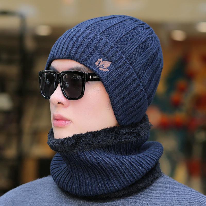 COKK 2019 New Men's Winter Hat Scarf Plus Velvet Leaf Knitted Cap Bib 2 Sets Men And Women Outdoor Warm Thicking Sets Windproof