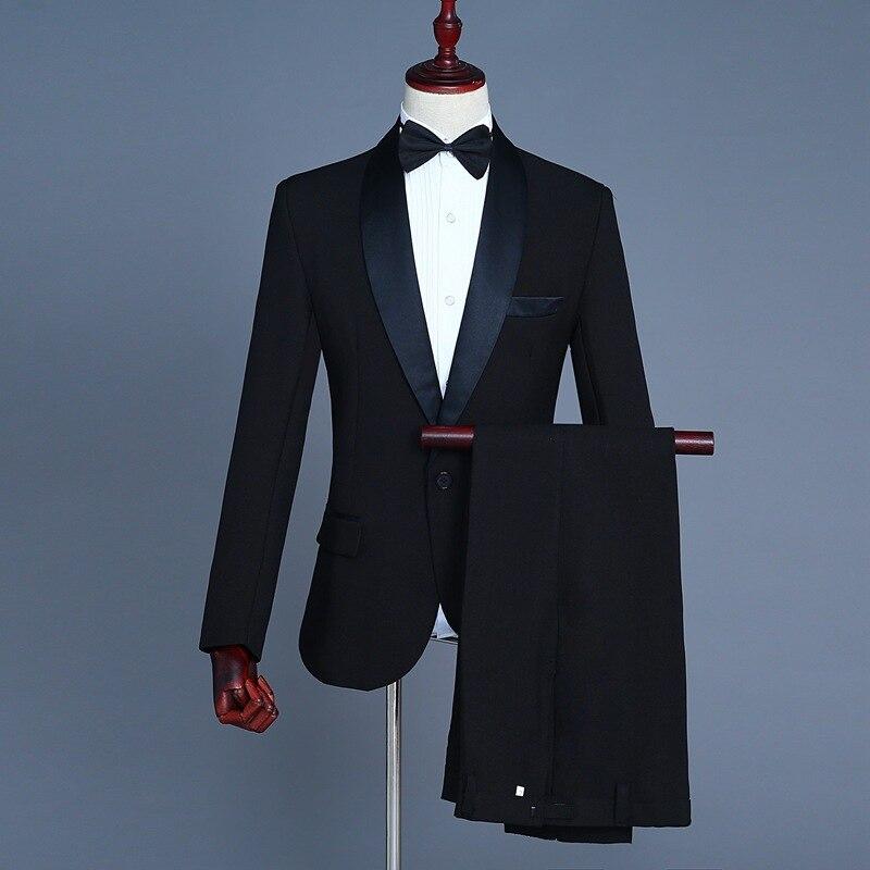 Men Shawl Lapel Costume Suit Singer Suit Host Long-sleeve Suit Stage Black And White Photo Shoot Formal Dress