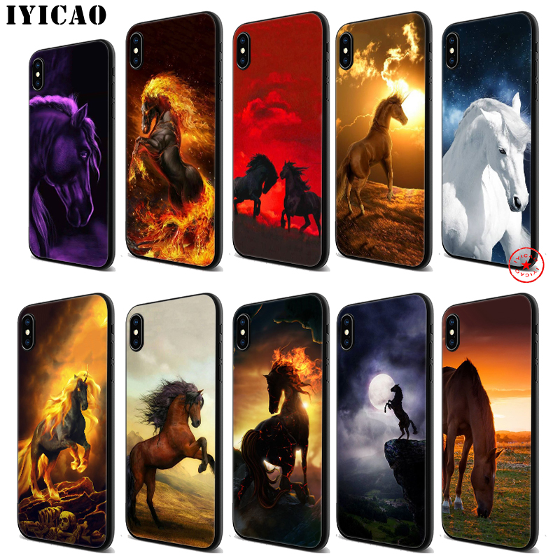 IYICAO Horse Cool Running Soft Black Silicone Case for iPhone 11 Pro Xr Xs Max X or 10 8 7 6 6S Plus 5 5S SE