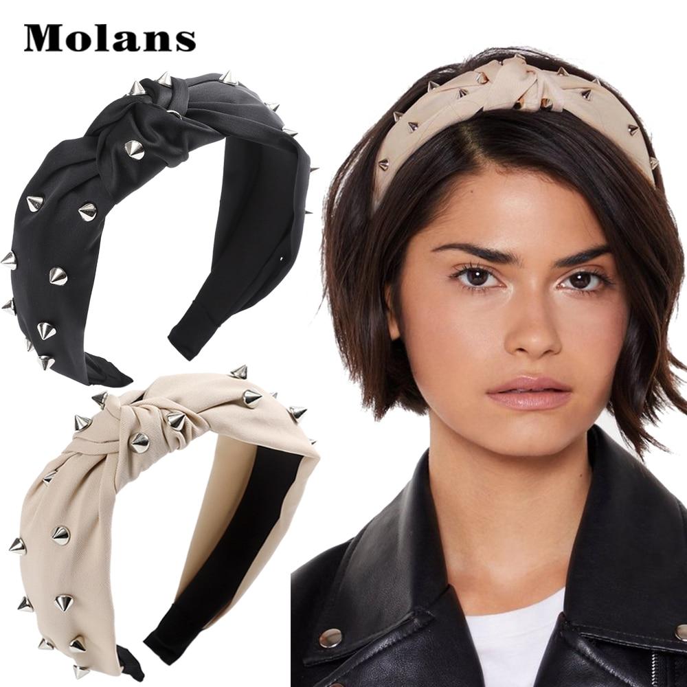 Molans Rivets Studded Headbands For Women 2020 New Silver Rivets Punk Headband Female Knot Black Solid Turban Head Hoop