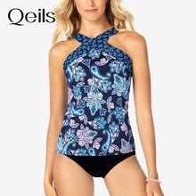 Qeils bikini 2021 cintura alta impressão biquíni tankini crossover maiô brasileiro de duas peças longo top tanga banho feminino
