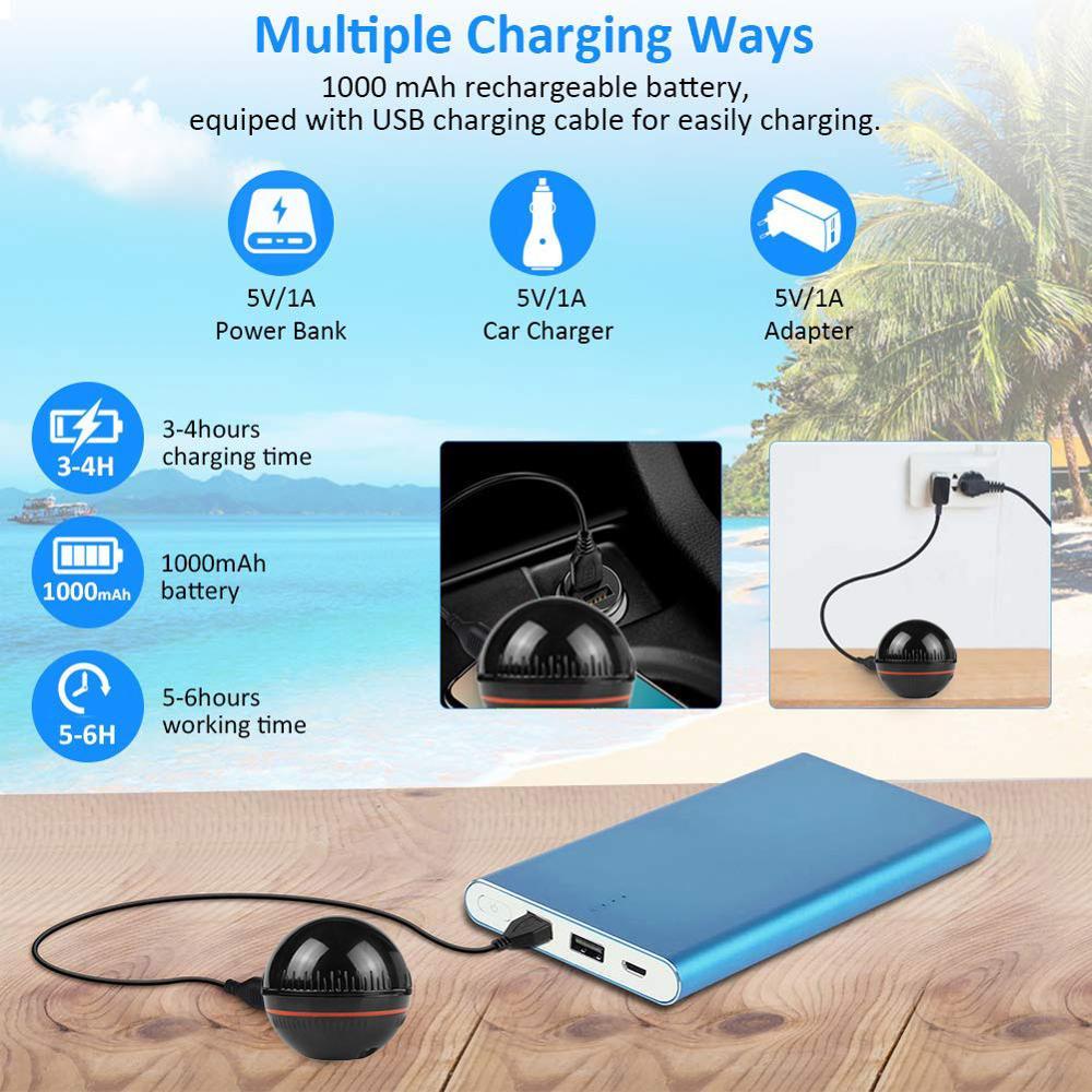 Smart wireless Fisch Finder Tragbare Wireless Sonar Fishfinder Kompatibel mit iOS & Android für Dock Shore Boot Eis Angeln