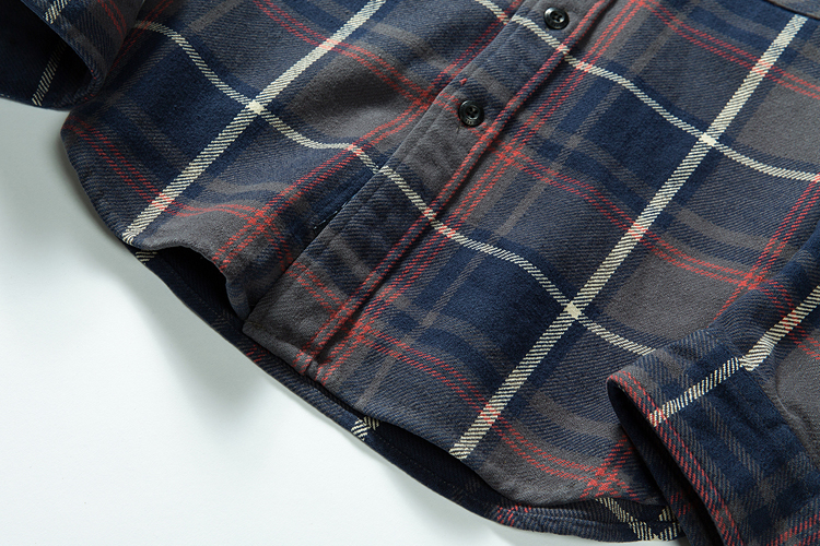 100% cotton heavy weight retro vintage classic red black spring autumn winter long sleeve plaid shirt for men women