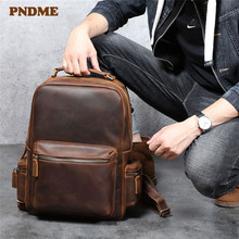 PNDME vintage crazy horse cowhide men's backpack casual simple natural genuine leather large capacity womne's laptop bagpack